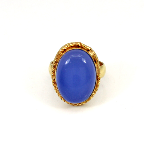 Latest Collection Natural Blue Chalcedony Gemstone Ring Gold Plated Rings Oval Cabochon Rings Designer Anniversary Gift Ring