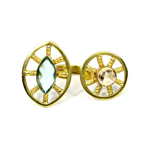 Latest Collection Natural Champagne Quartz & Blue Topaz Hydro Gemstone Ring Gold Plated Wedding Anniversary Gift Ring Boho Rings