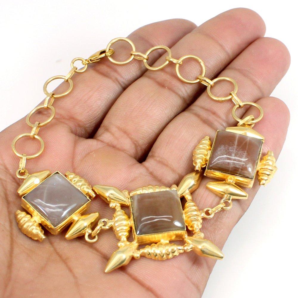 Latest Collection Peach Moonstone Bracelet Gold Plated Designer Bracelet