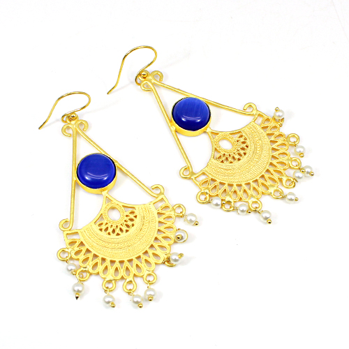 Latest Collection Synthetic Blue Cat's Eye & Pearl Earring Gypsy Stylish Earring Gold Plated Jewelry Women Long Hanging Dangling