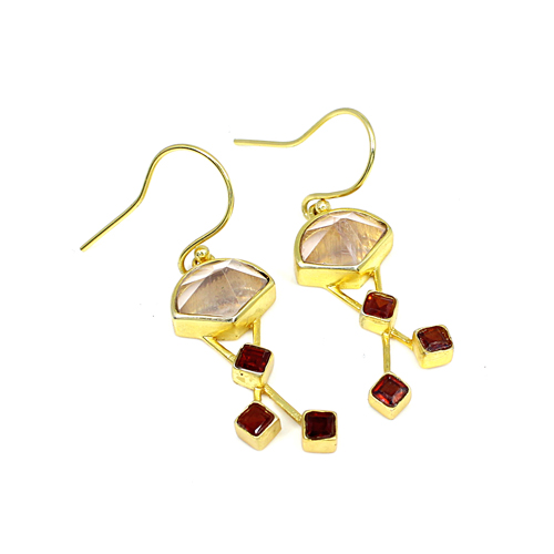 Latest Fashion Statement Earring Newest Selling Natural Rose Quartz & Garnet Hydro Earring Brass Gold Plated Hanging Dangling Women Wedding Engagement Earring