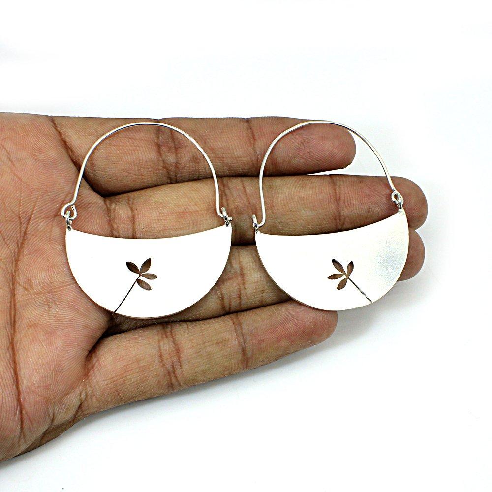 Leaf Design Brass Silver Plated Crescent Hoop Earring