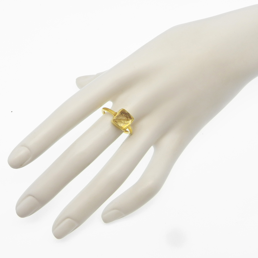 Lemon Quartz 925 Sterling Silver Bezel Set Ring