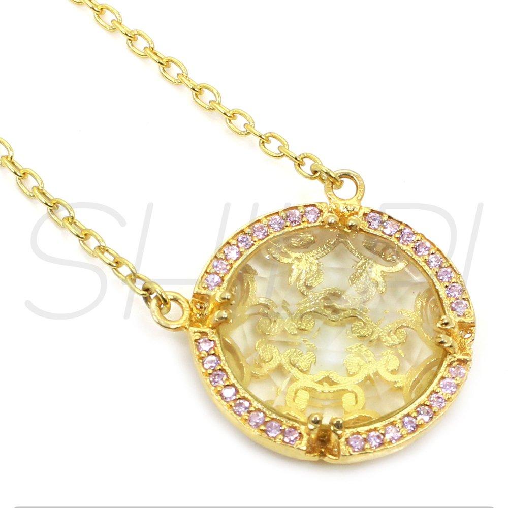 Lemon Quartz & Pink Cubic Zirconia Gold Plated Long Chain Necklace