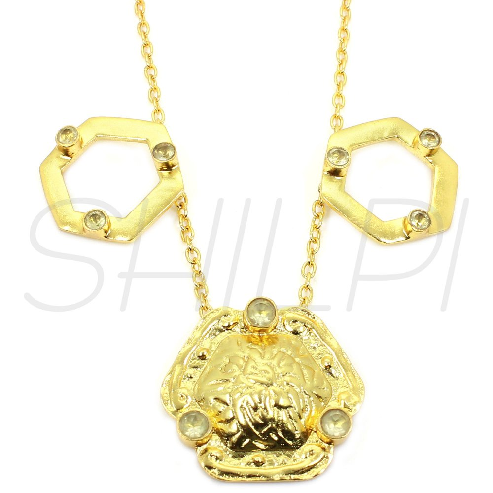 Lemon Quartz Gold Plated Long Chain Handcrafted Everyday Wear Necklace