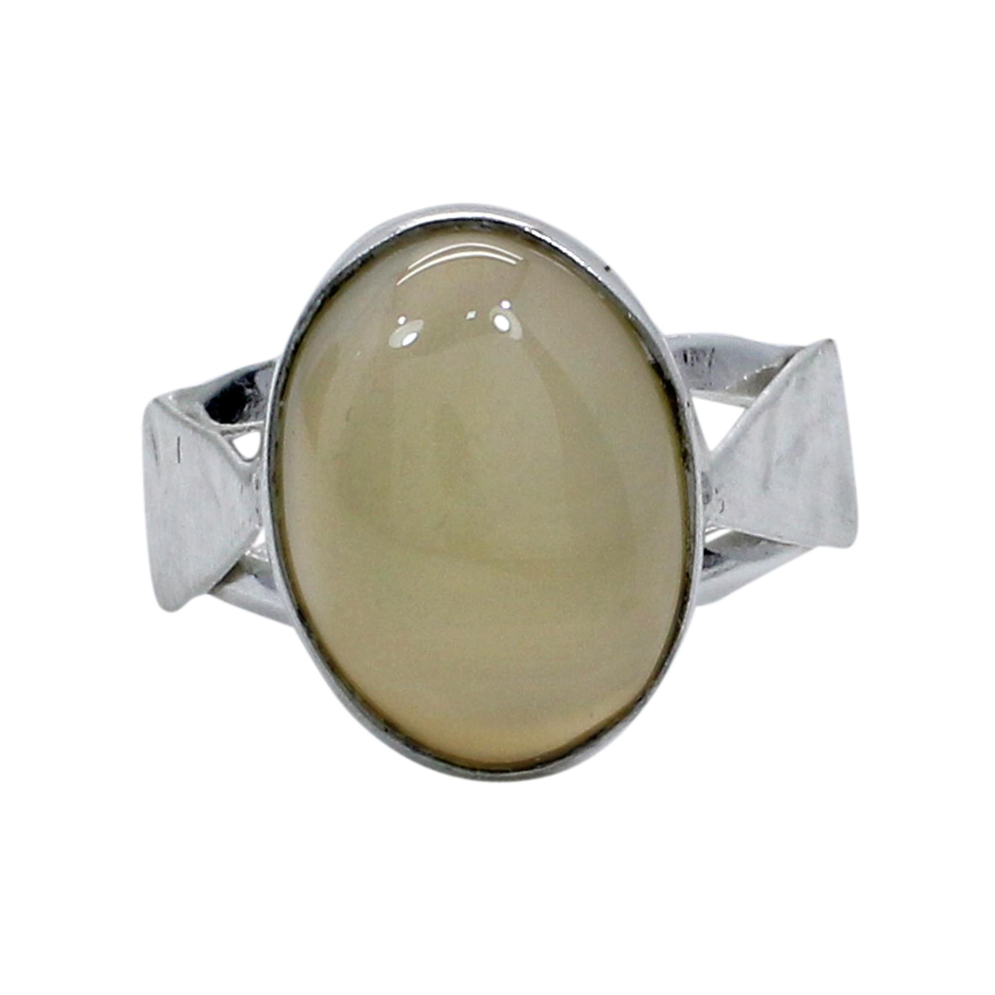 Lemon Quartz Silver Plated Handcraft Bezel Set Simple Ring