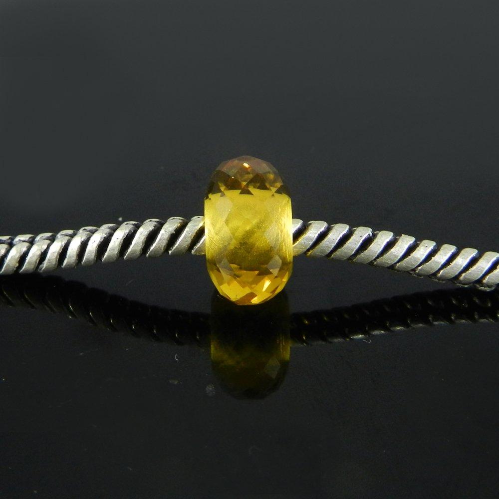 Light Citrine Hydro Roundel Facet Big Hole Beads For earring Making