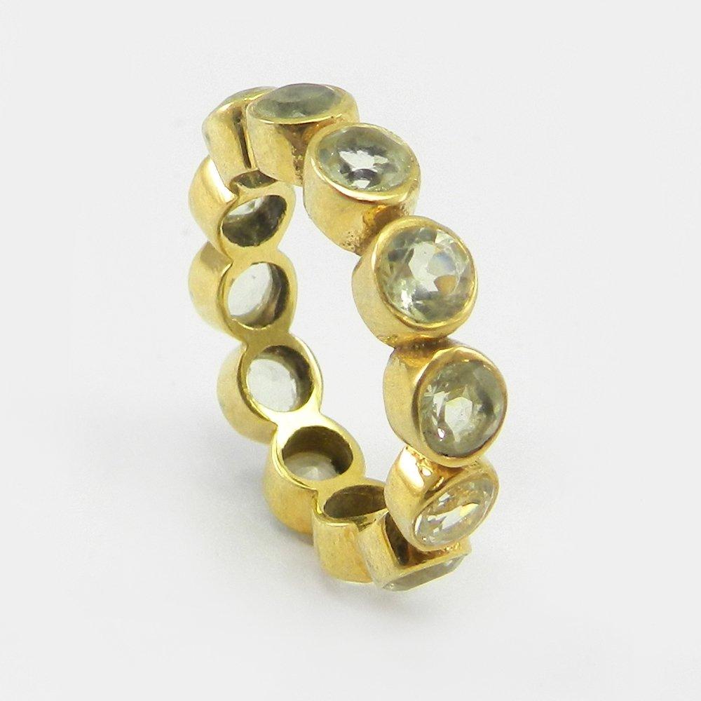 Light smoky quartz silver eternity ring