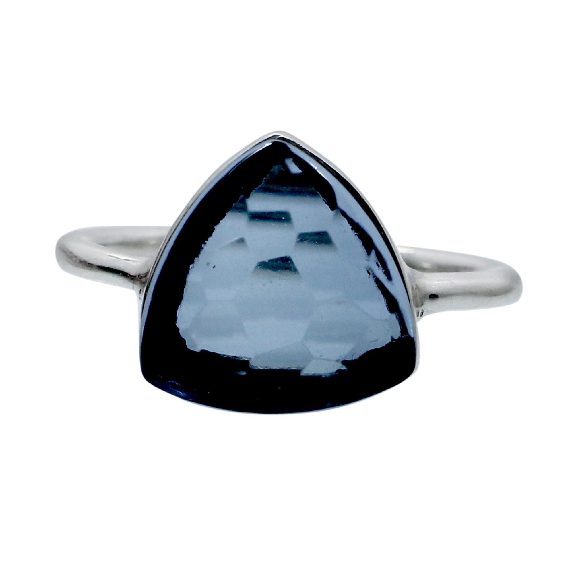 London Blue Topaz Hydro 925 Sterling Silver Handmade Bezel Set Ring