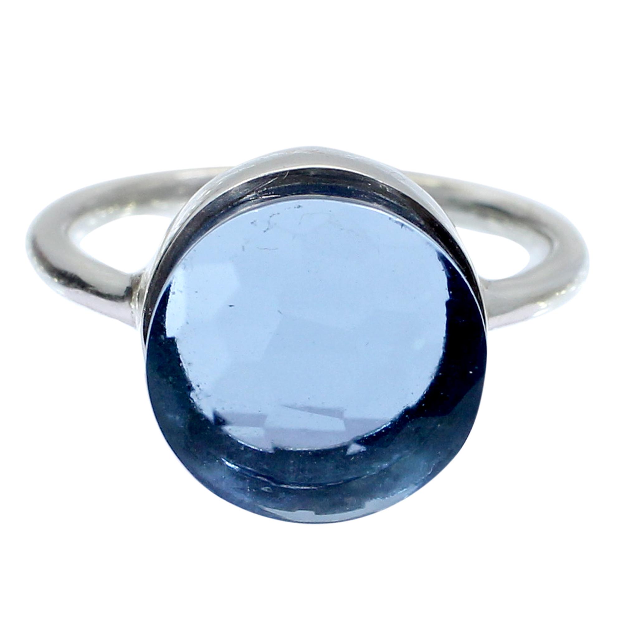 London Blue Topaz Hydro 925 Sterling Silver Handmade Bezel Set Simple Ring