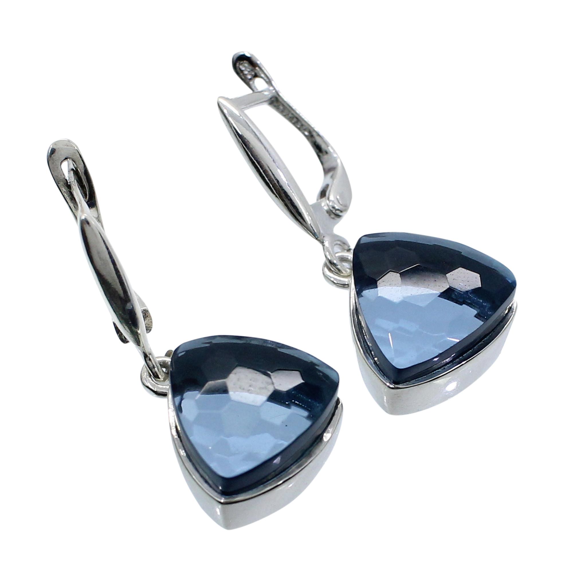 London Blue Topaz Hydro 925 Sterling Silver Handmade Hook Earring