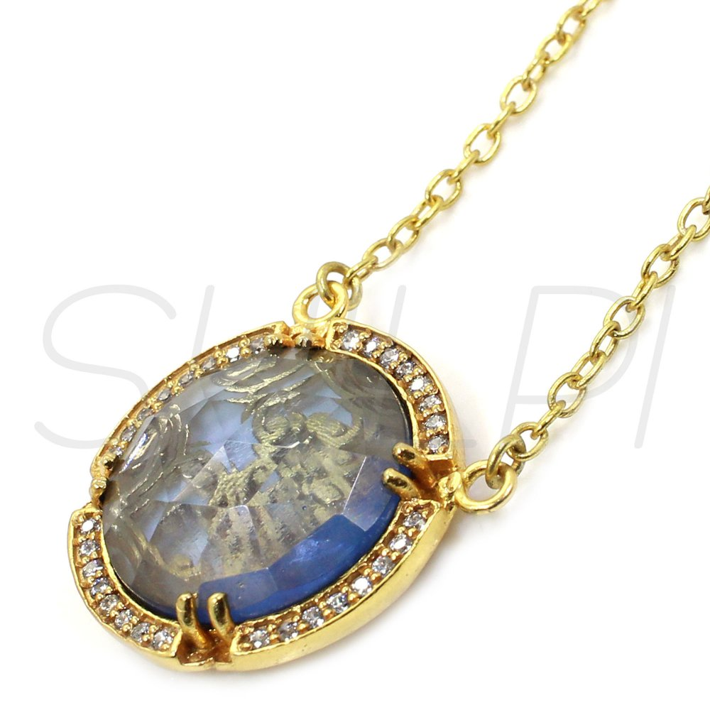 London Blue Topaz Hydro &  White Cubic Zirconia Gold Plated Chain Pendant Necklace