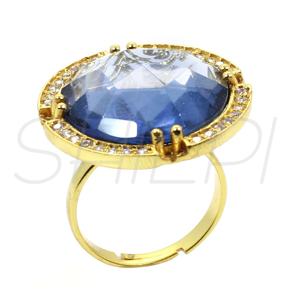 London Blue Topaz Hydro & White Cubic Zirconia Gold Plated Adjustable Ring