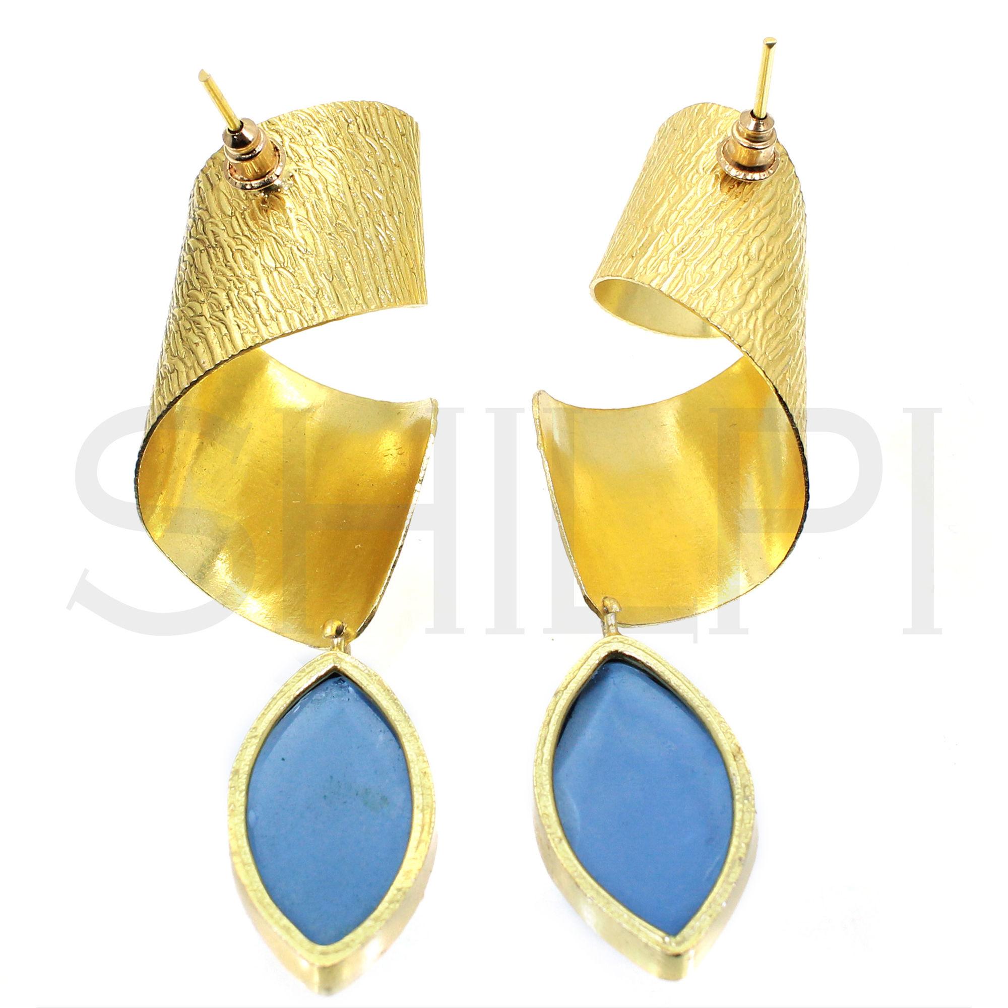 London Blue Topaz Hydro Gold Plated Handmade Twisted Design Stud Earrings