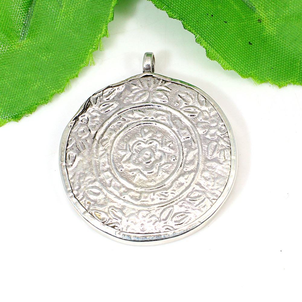 Lord Krishna Hand Painted Solid Silver Pendant