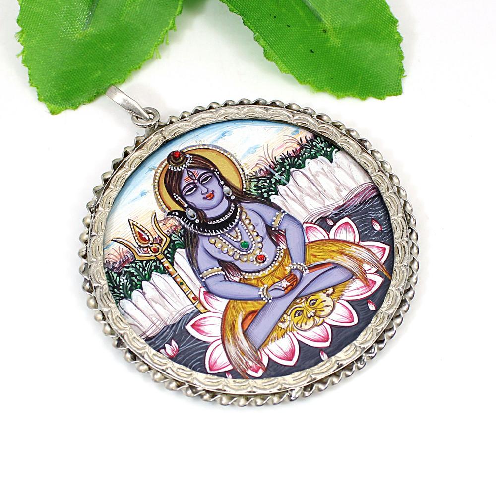 Lord Shiva 925 Sterling Silver Twisted Wire Designer Bezel Set Pendant