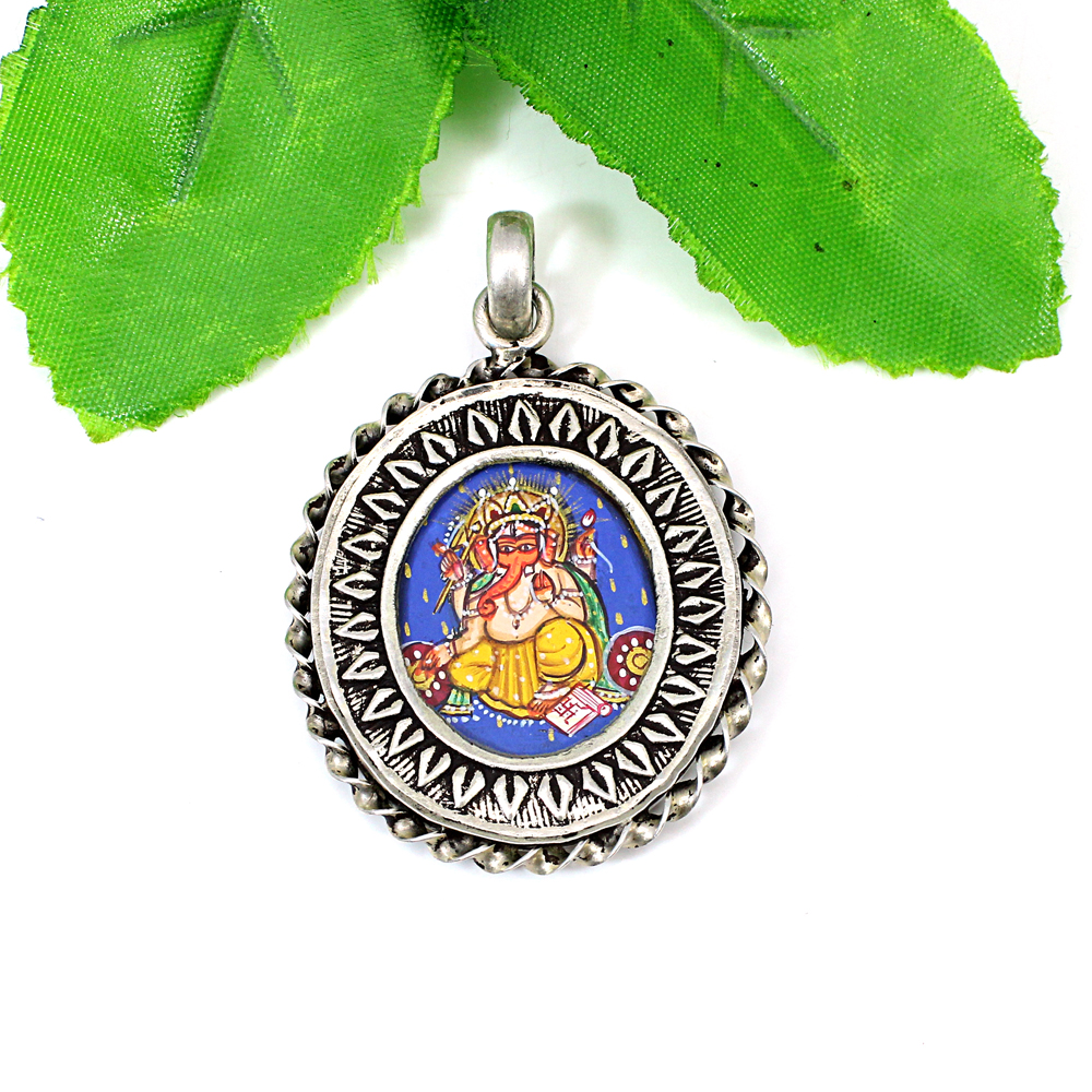 Lord Shree Ganesha Miniature Hand Painted Twisted Wire Silver Pendant