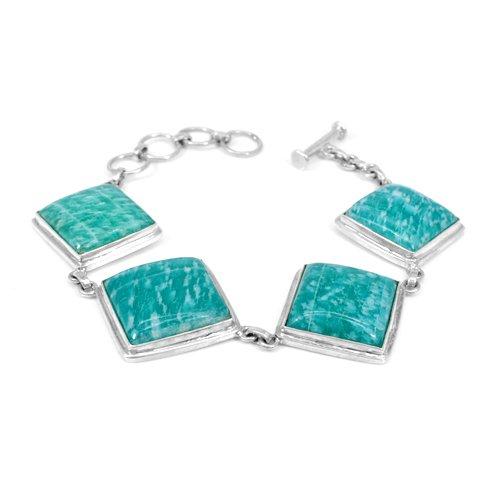 Lovely Design Natural Amazonite Gemstone Bracelet Solid 925 Sterling Silver Bracelet Women Statement Bracelet