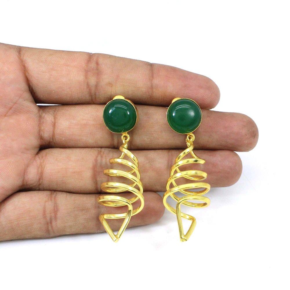 Lovely Green Onyx Gemstone Handmade Gold Plated Designer Dangle Earring