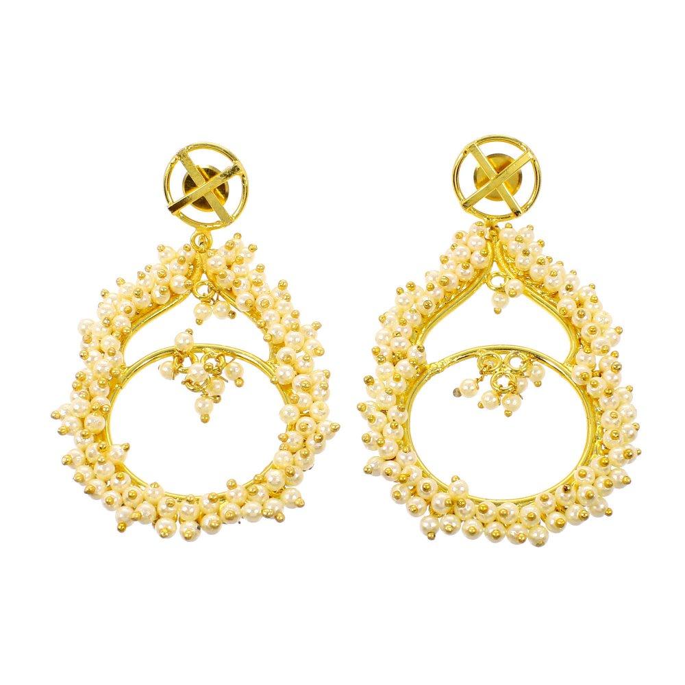 Lovely Pearl Gemstone 18k Gold Plated Indian Designer Chandelier Earring For Wedding