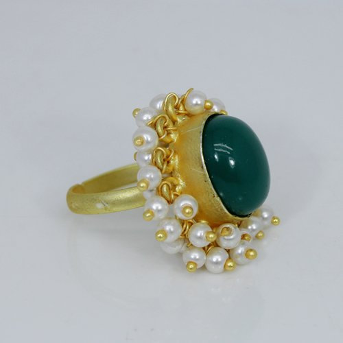 Luxury Women Collection Natural Green Onyx Gemstone Ring Tiny Pearl Designer Ring Vermeil Adjustable Rings Handmade Ring