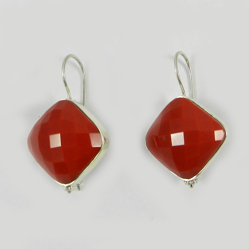 Macaley Syn Red Coral Silver Designer Earring