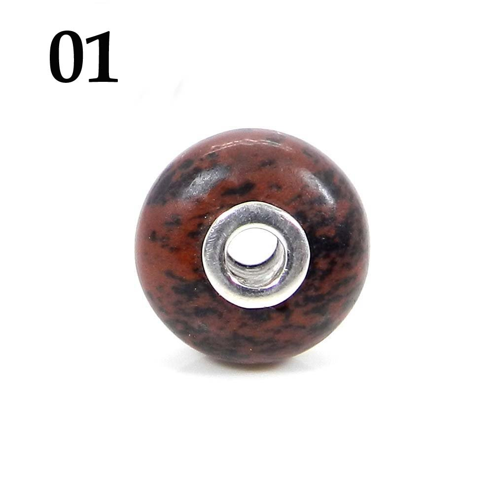 Mahogany Obsidian Roundel Smooth Big Hole Silver Core Beads For Bracelet