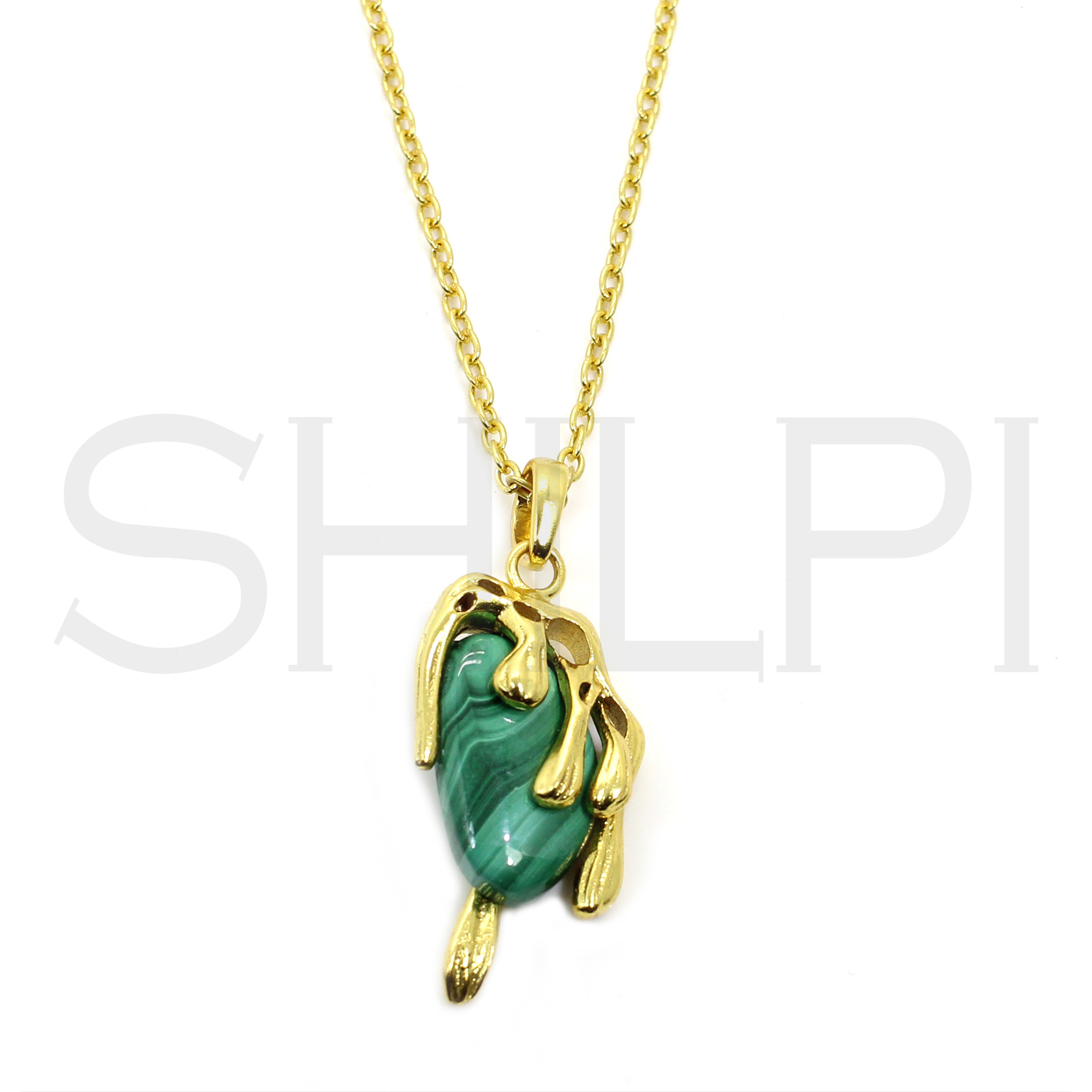 Malachite Designer Gold Plated Long Chain Necklace