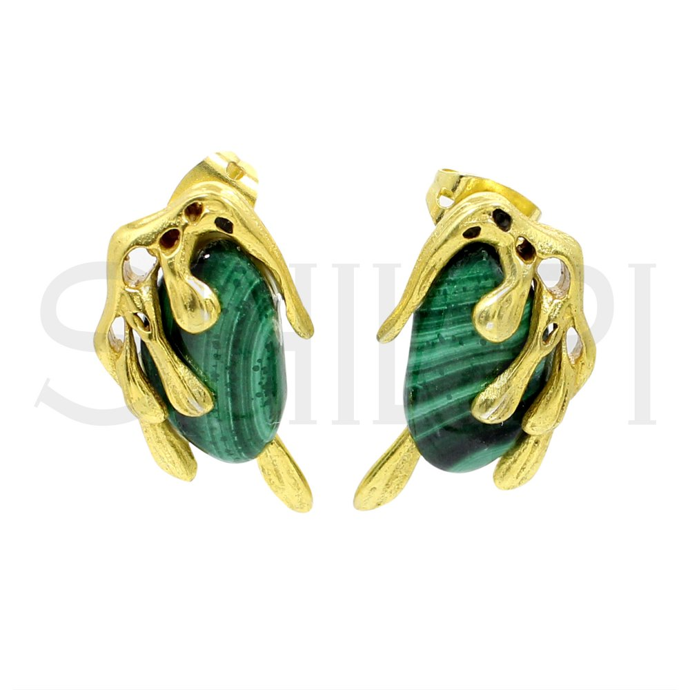 Malachite Gold Plated Handmade Stud Earrings