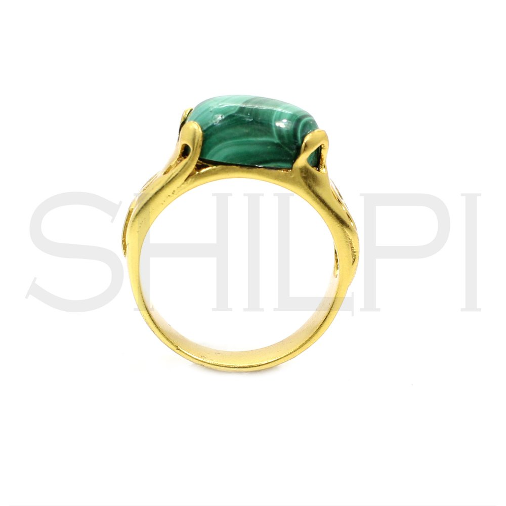 Malachite Handcrafted Gold Plated Engagement Ring