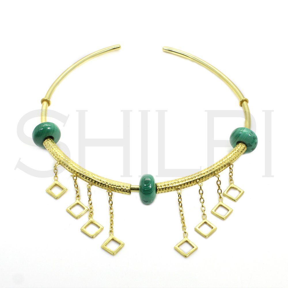 Malachite Hole Beaded Gold Plated Cuff Necklace With Rhombus Charms