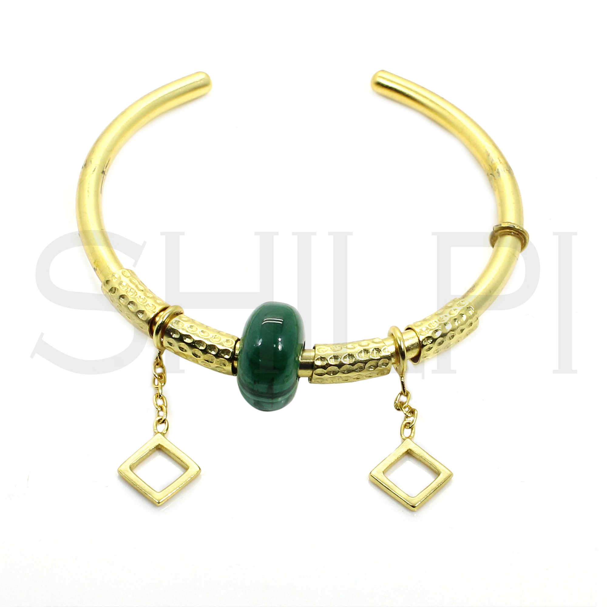 Malachite Hole Beaded Gold Plated Hammered Texture Handmade Cuff Bracelet With Rhombus Charms