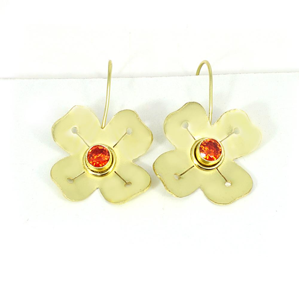 Mandarin Garnet Gemstone Brass Vermeil Designer Dangle Earring