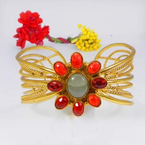 Mandarin Garnet Hydro & Aquamarine Gold Plated Adjustable Cuff Bracelet