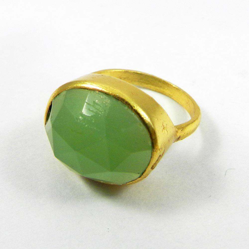 Manzu Green Aventurine Gemstone Gold plated Ring