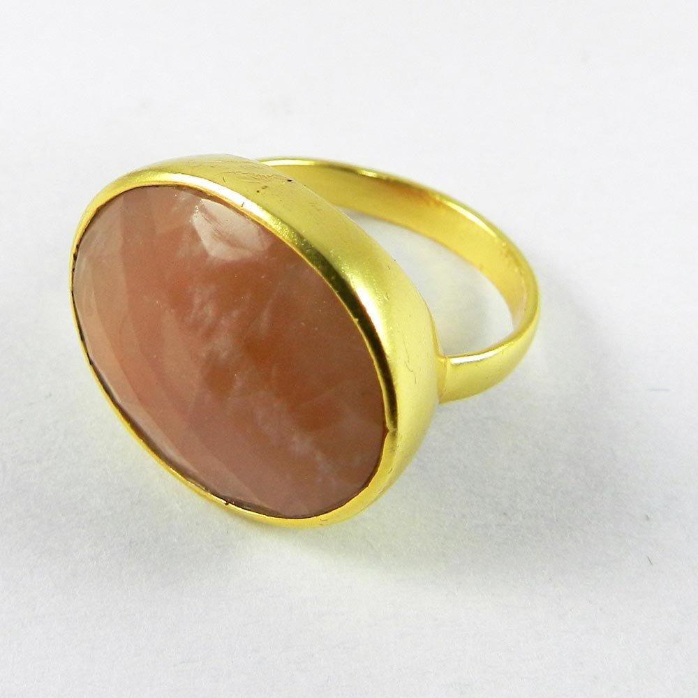 Manzu Peach moonstone Gemstone Gold plated Ring