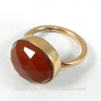 Manzu Red onyx Gemstone Rose Gold plated Ring