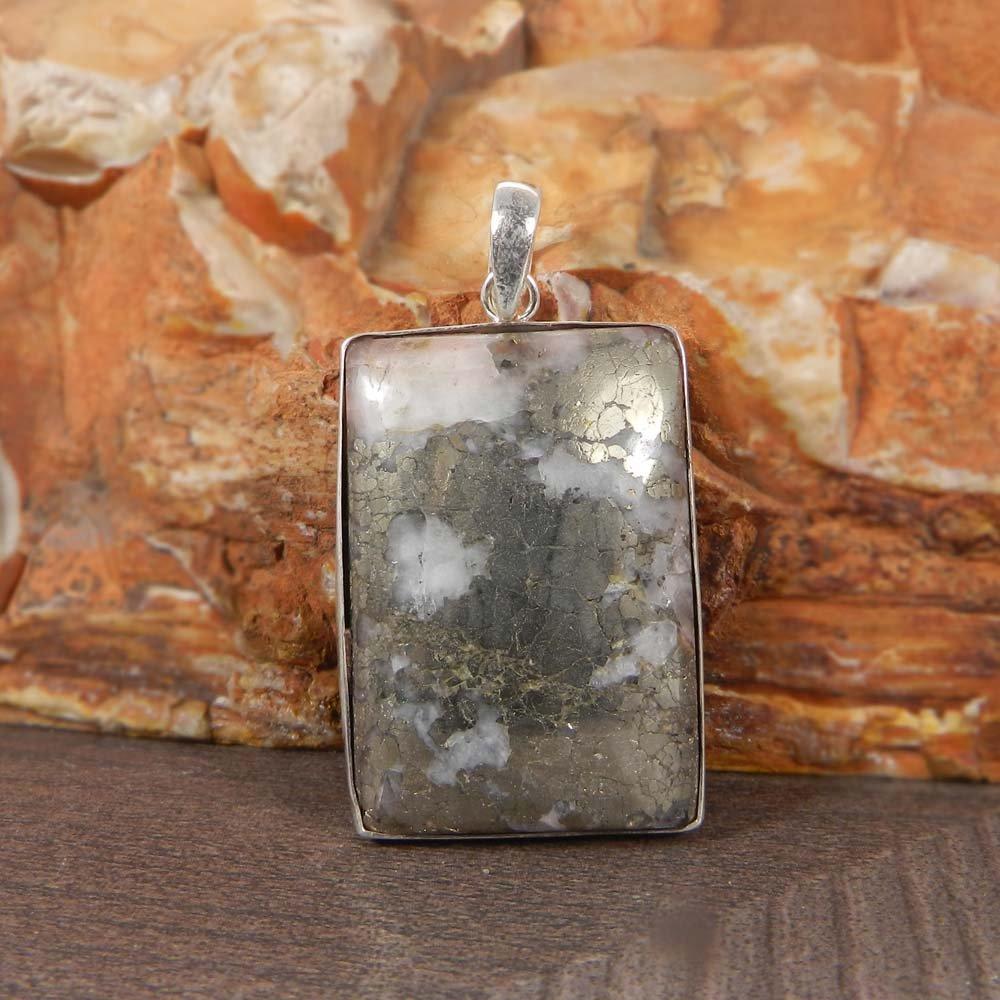 Marcasite Pyrite 925 Sterling Silver Designer Bezel Set Pendant