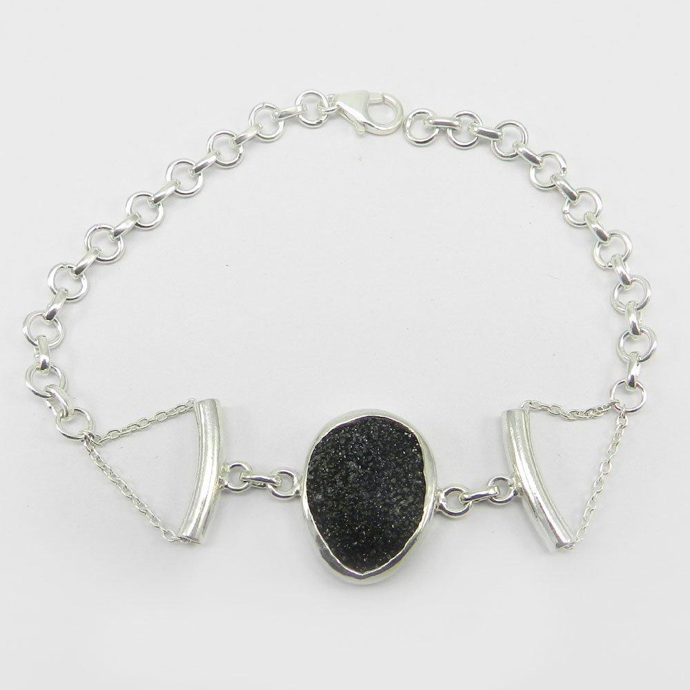 "Mario Black Druzy 925 Sterling Silver 9"" Link Chain Bracelet"
