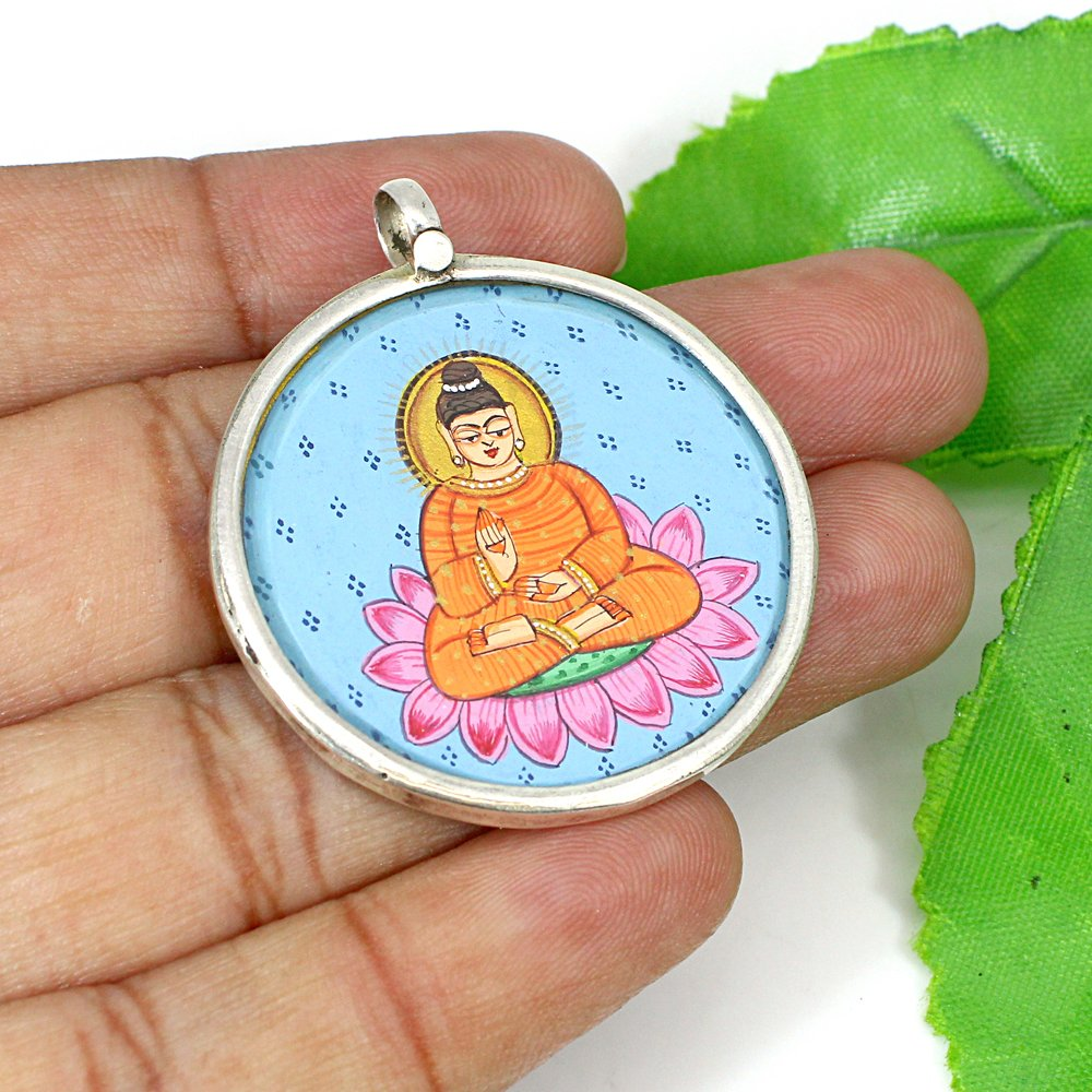 Meditating Lord Buddha Miniature Art Hand Painting Silver Pendant