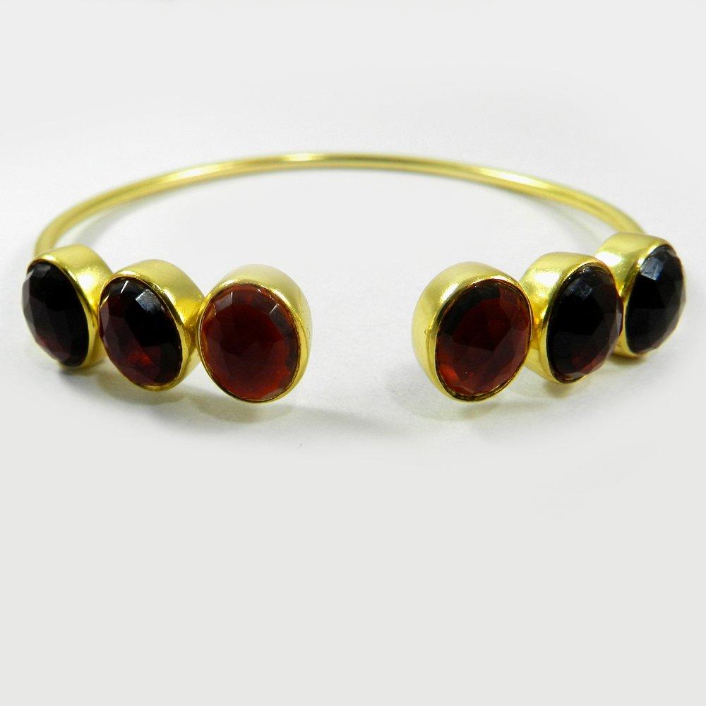 Middleway gemstone adjustable gold plated bangle