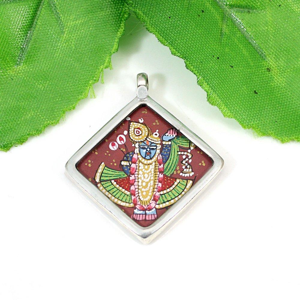 Miniature Art Hindu God Shree Nath Ji Silver Hand Painting Pendant