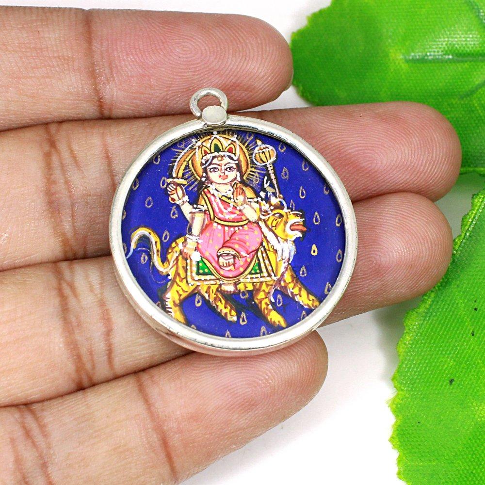 Miniature Art Hindu Goddess Durga Mata Hand Painting Silver Pendant