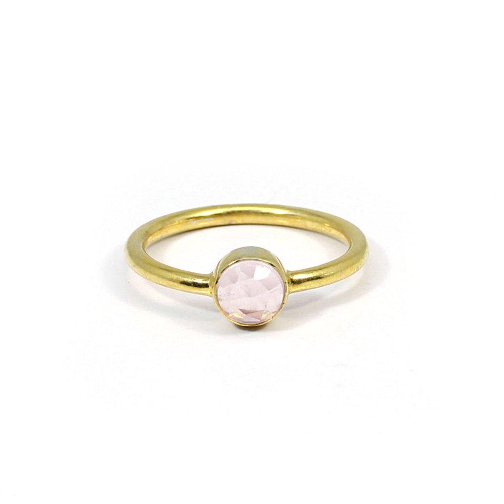 Minimalist Dainty Ring Solid 925 Sterling Silver Ring Rose Quartz Gemstone Ring Tiny Unisex Ring Bohemian Handmade Ring