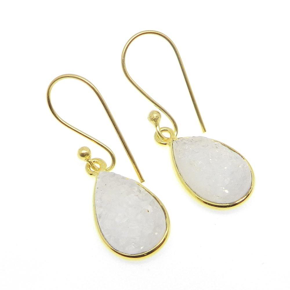 Mirica White Druzy Gold Plated Bezel Dangle Earring