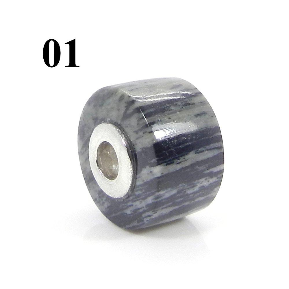 Moftail Jasper Smooth Flat Big Hole Silver Core Beads For Bracelet Making