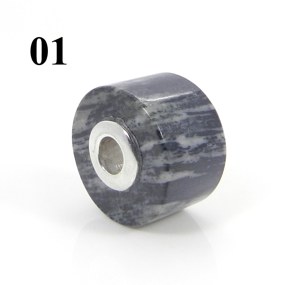 Moftail Jasper Smooth Flat Big Hole Silver Core Beads For Jewelry Making