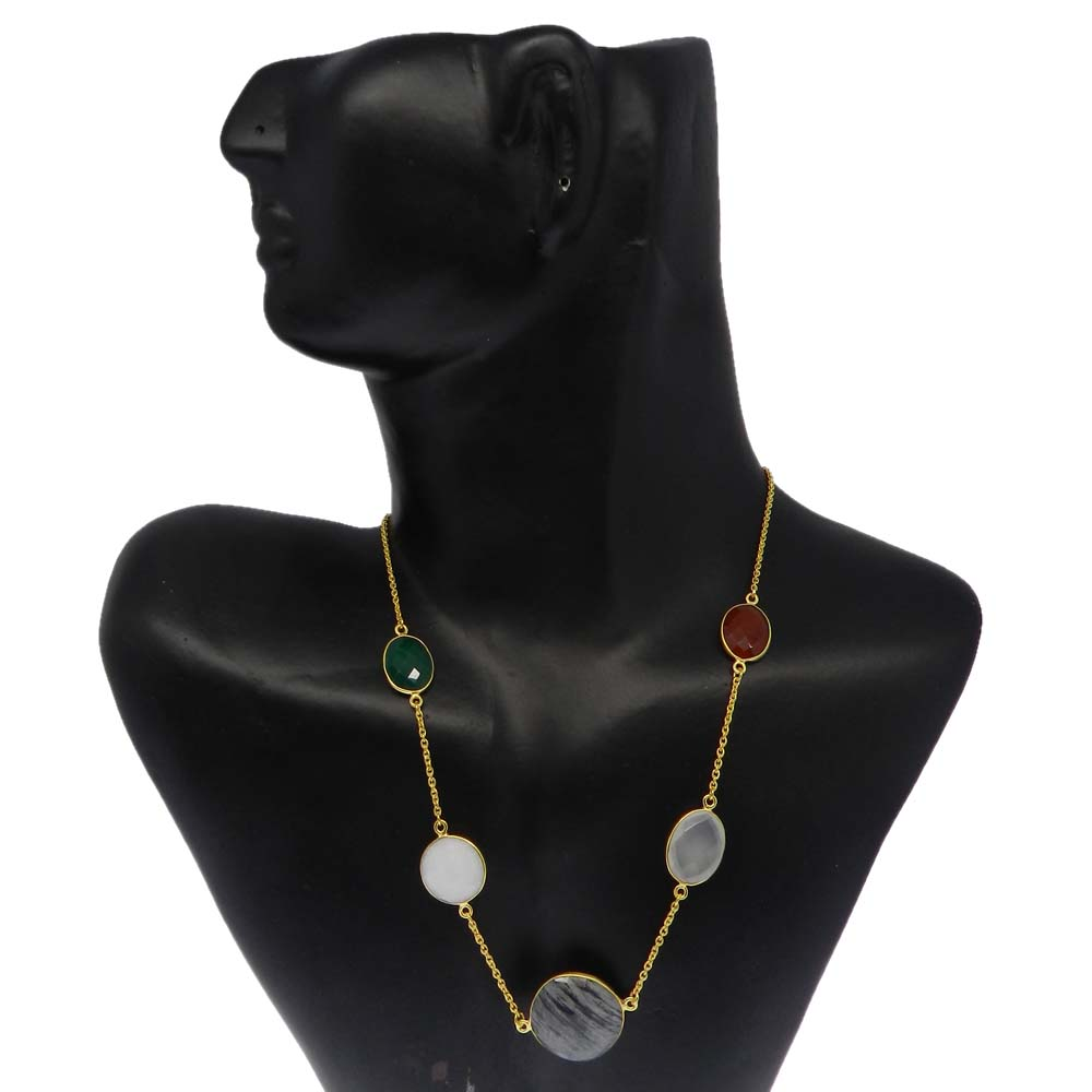 Moftail Jasper,White Agate,Onyx,Chalcedony Gold Plated 22 inch Long Chain Necklace