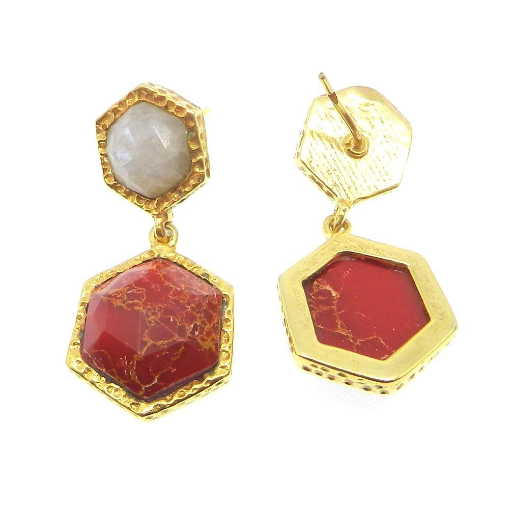 Mohave Turquoise & Moonstone Gold Plated Hexagon Designer Stud Earring