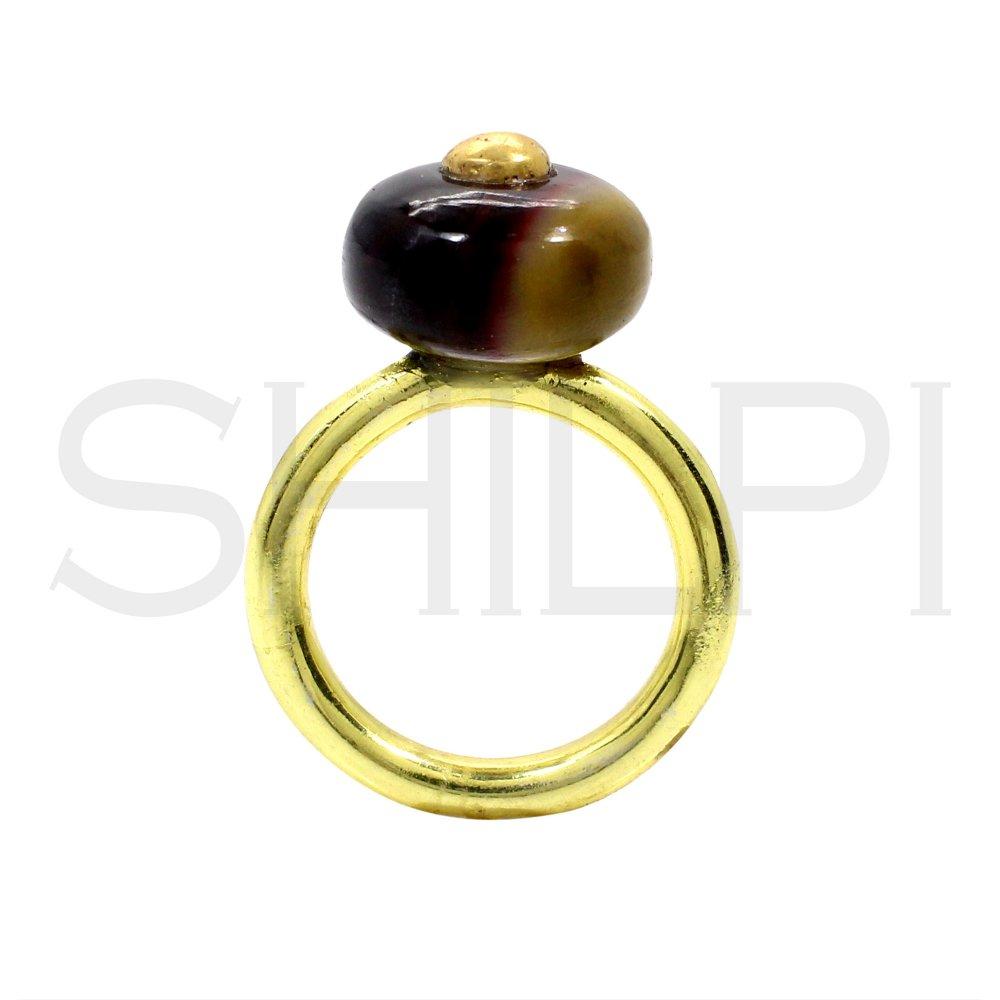 Mookaite Jasper Gold Plated Handmade Simple Ring